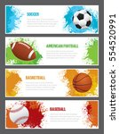 a set of sports themed banners... | Shutterstock .eps vector #554520991