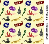 pattern with funny little... | Shutterstock .eps vector #554521801