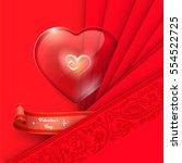 valentine's day background. red ... | Shutterstock .eps vector #554522725