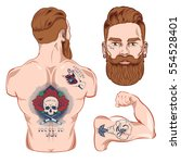 vape old school tattoo vector... | Shutterstock .eps vector #554528401