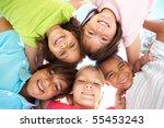 group of children looking down... | Shutterstock . vector #55453243