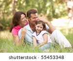 family sitting in long grass in ... | Shutterstock . vector #55453348