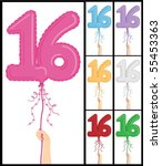 hand holding a number 16 shaped ... | Shutterstock .eps vector #55453363