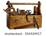 Old Wooden Tool Box Full Of...