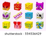 funny 3d emoticons  pixel cubes ... | Shutterstock .eps vector #554536429