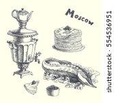 Russian Food Set. Vector Hand...