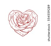 Hand Drawn Rose In The Shape O...
