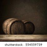 wooden oak barrel isolated on... | Shutterstock . vector #554559739