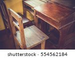 Old Classroom With Wood Desk...