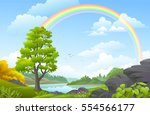 Rainbow Over A Landscape With...