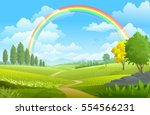 layers of flowers over the vast ... | Shutterstock .eps vector #554566231