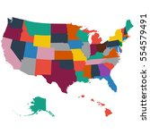 set of us state maps on a white ... | Shutterstock . vector #554579491