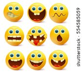 yellow smiley faces. emoji... | Shutterstock .eps vector #554585059