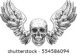 Skull And Wings In Engraving...