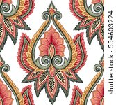 ornamental hand drawn ethnic... | Shutterstock .eps vector #554603224