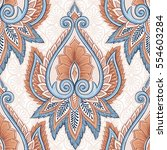 ornamental hand drawn ethnic... | Shutterstock .eps vector #554603284
