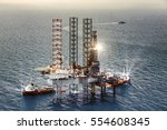 offshore oil rig platform in... | Shutterstock . vector #554608345