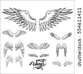 angel wings vector  lettering ... | Shutterstock .eps vector #554611411