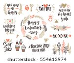valentine's day hand drawn... | Shutterstock .eps vector #554612974