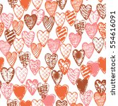 vector seamless graphic heart ... | Shutterstock .eps vector #554616091