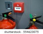 fire alarm equipment on wooden... | Shutterstock . vector #554623075