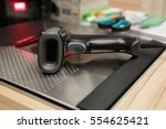 new barcode scanner at check... | Shutterstock . vector #554625421