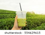glass of ice green tea in your... | Shutterstock . vector #554629615