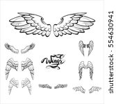 angel wings vector  lettering ... | Shutterstock .eps vector #554630941