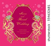 vintage invitation and wedding... | Shutterstock .eps vector #554632681