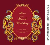 vintage invitation and wedding... | Shutterstock .eps vector #554632711