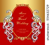 vintage invitation and wedding... | Shutterstock .eps vector #554632729
