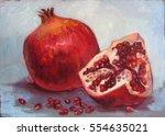 garnet with seeds  on light...   Shutterstock . vector #554635021