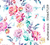 abstract watercolor floral... | Shutterstock . vector #554647159