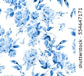 Stock photo blue watercolor floral seamless pattern in a la prima style watercolor roses flowers twigs 554647171