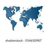 blue world map 3d illustration... | Shutterstock . vector #554650987