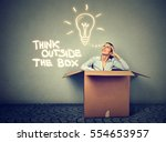 think outside the box concept.... | Shutterstock . vector #554653957