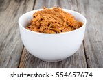 bbq pulled pork bowl over a... | Shutterstock . vector #554657674
