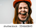 happy funny woman in red...   Shutterstock . vector #554660845