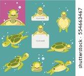 turtle cartoon set vector | Shutterstock .eps vector #554663467
