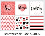 happy valentines day cards set... | Shutterstock .eps vector #554663809