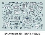 gadget icons vector set. hand... | Shutterstock .eps vector #554674021