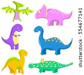 vector set of funny colored... | Shutterstock .eps vector #554677141