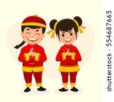 happy children boy and girl in... | Shutterstock .eps vector #554687665