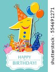 happy first birthday.... | Shutterstock .eps vector #554691271