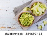 Raw Zucchini Pasta On White...