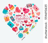 happy valentines day. love... | Shutterstock .eps vector #554693635