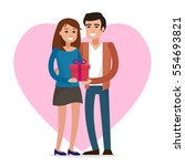 love couple with gift. flat... | Shutterstock .eps vector #554693821
