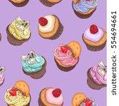 delicious cupcakes. seamless... | Shutterstock .eps vector #554694661