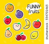 collection of vector fruits... | Shutterstock .eps vector #554701465