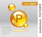 vitamin p gold shining pill... | Shutterstock .eps vector #554703859